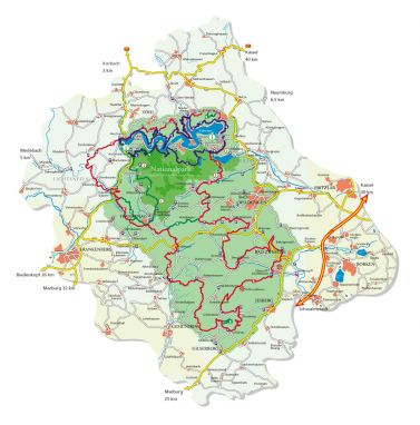 National park region Caption: Map of the Kellerwald-Edersee National Park region